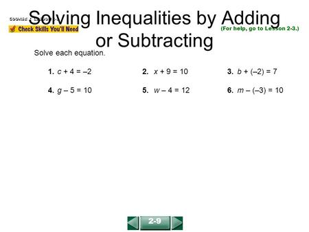 Solving Inequalities by Adding or Subtracting