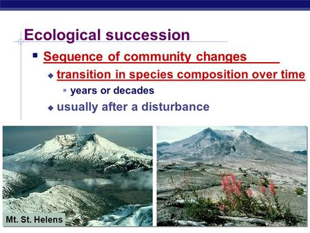 AP Biology Ecological succession  Sequence of community changes  transition in species composition over time  years or decades  usually after a disturbance.