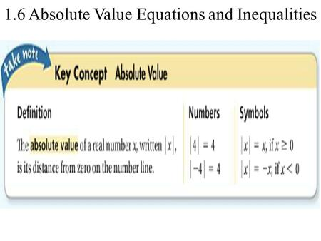1.6 Absolute Value Equations and Inequalities. Solving an Absolute Value Equation What is the solution of | 2x – 1 | = 5? Graph the solution. | 2x – 1.