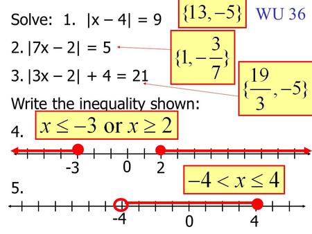 Solve: 1. |x – 4| = 9 2.|7x – 2| = 5 3.|3x – 2| + 4 = 21 Write the inequality shown: 4. 5. -32 0 4 -4 0 WU 36.