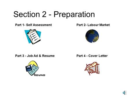 Section 2 - Preparation Part 1- Self AssessmentPart 2- Labour Market Part 3 - Job Ad & ResumePart 4 - Cover Letter.
