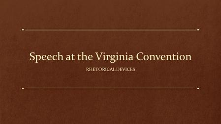 Speech at the Virginia Convention