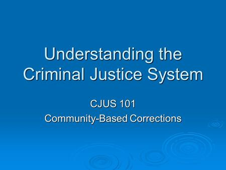 Understanding the Criminal Justice System CJUS 101 Community-Based Corrections.