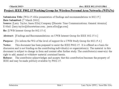 Doc.: IEEE 802.15-03/158r1 Submission Larry Taylor (DTC), Jason Ellis (GA)Slide 1 Project: IEEE P802.15 Working Group for Wireless Personal Area Networks.