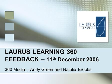 LAURUS LEARNING 360 FEEDBACK – 11 th December 2006 360 Media – Andy Green and Natalie Brooks.