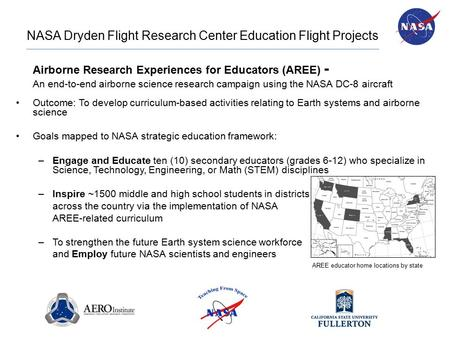 NASA Dryden Flight Research Center Education Flight Projects Airborne Research Experiences for Educators (AREE) - An end-to-end airborne science research.