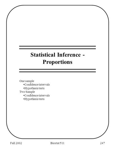 Fall 2002Biostat 511247 Statistical Inference - Proportions One sample Confidence intervals Hypothesis tests Two Sample Confidence intervals Hypothesis.