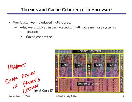 December 1, 2006©2006 Craig Zilles1 Threads and Cache Coherence in Hardware  Previously, we introduced multi-cores. —Today we'll look at issues related.
