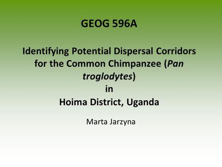 GEOG 596A Identifying Potential Dispersal Corridors for the Common Chimpanzee (Pan troglodytes) in Hoima District, Uganda Marta Jarzyna.
