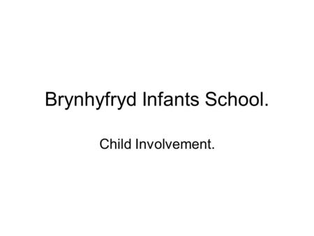 Brynhyfryd Infants School. Child Involvement.. Introduction. Beneficial to observe child levels of involvement in the following activities - Indoor Outdoor.