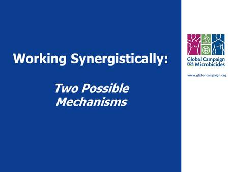 Www.global-campaign.org Working Synergistically: Two Possible Mechanisms.