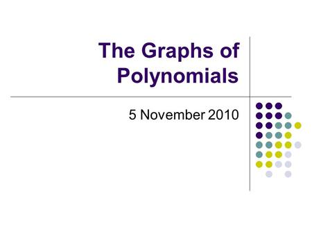 The Graphs of Polynomials
