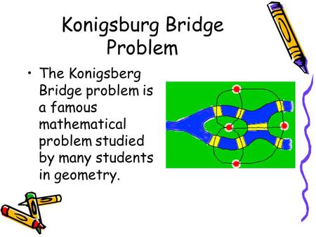 Konigsburg Bridge Problem The Konigsberg Bridge problem is a famous mathematical problem studied by many students in geometry.