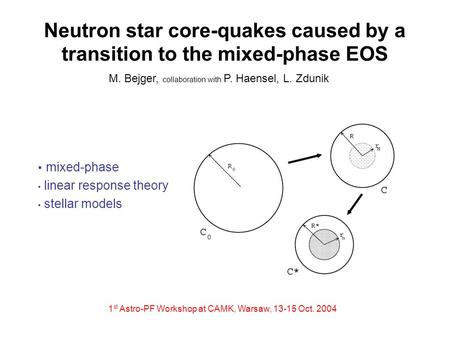 Neutron star core-quakes caused by a transition to the mixed-phase EOS mixed-phase linear response theory stellar models M. Bejger, collaboration with.