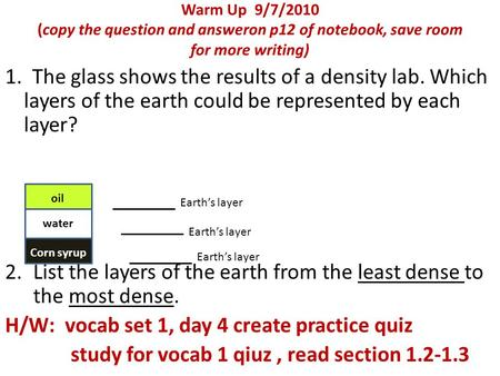 List the layers of the earth from the least dense to the most dense.