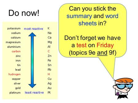 Do now! Can you stick the summary and word sheets in?