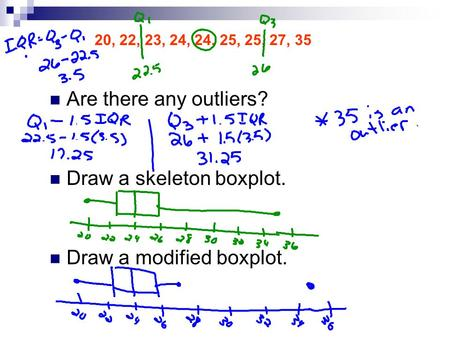 20, 22, 23, 24, 24, 25, 25, 27, 35 Are there any outliers? Draw a skeleton boxplot. Draw a modified boxplot.