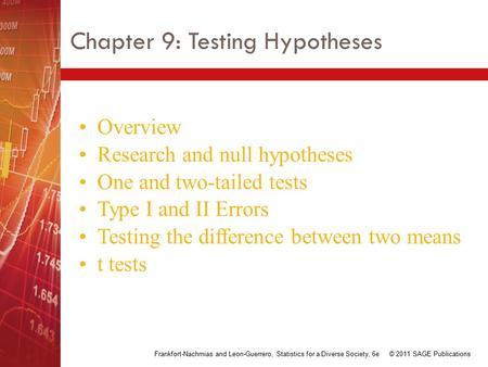 Chapter 9: Testing Hypotheses Overview Research and null hypotheses One and two-tailed tests Type I and II Errors Testing the difference between two means.