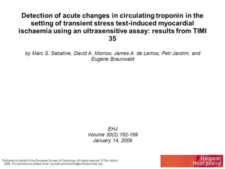 Detection of acute changes in circulating troponin in the setting of transient stress test-induced myocardial ischaemia using an ultrasensitive assay: