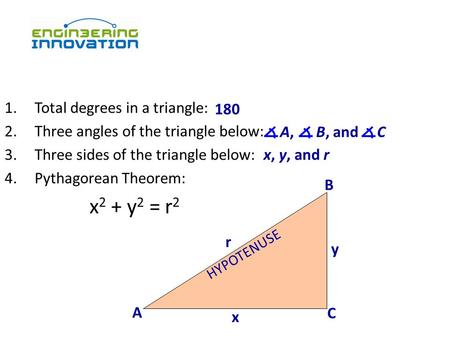 1.Total degrees in a triangle: 2.Three angles of the triangle below: 3.Three sides of the triangle below: 4.Pythagorean Theorem: x 2 + y 2 = r 2 180 A.