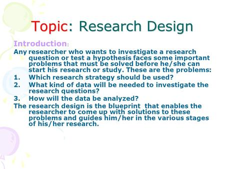 Any research topic