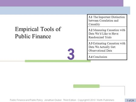 Public Finance and Public Policy Jonathan Gruber Third Edition Copyright © 2010 Worth Publishers 1 of 24 Empirical Tools of Public Finance 3.1 The Important.