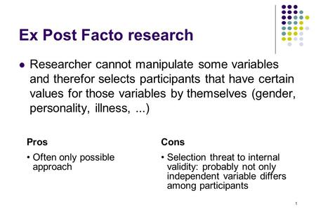 Expost facto research design