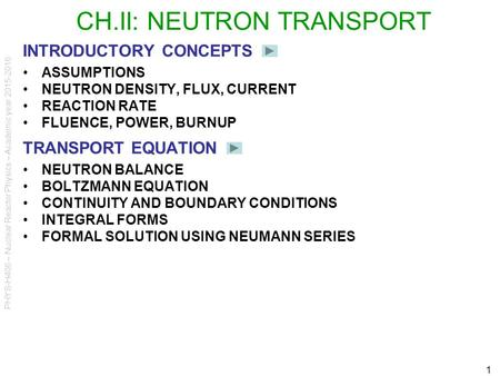 PHYS-H406 – Nuclear Reactor Physics – Academic year 2015-2016 1 CH.II: NEUTRON TRANSPORT INTRODUCTORY CONCEPTS ASSUMPTIONS NEUTRON DENSITY, FLUX, CURRENT.