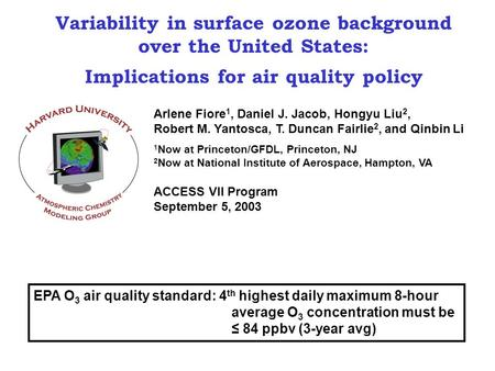 Variability in surface ozone background over the United States: Implications for air quality policy Arlene Fiore 1, Daniel J. Jacob, Hongyu Liu 2, Robert.
