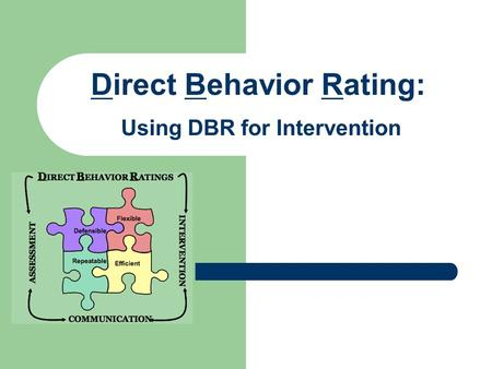 Direct Behavior Rating: Using DBR for Intervention.