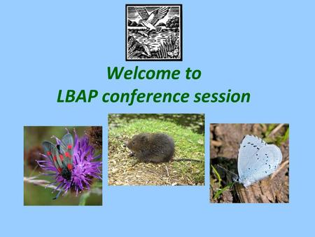 Welcome to LBAP conference session. Warwickshire, Coventry and Solihull Local Biodiversity Action Partnership Biodiversity targets Globally and nationally,
