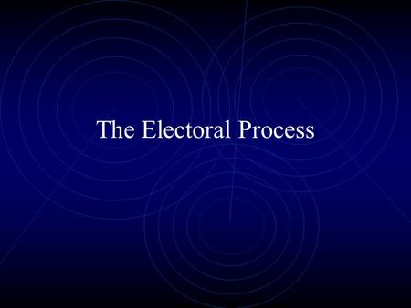 The Electoral Process The Nominating Process Process of candidate selection the naming of those who will seek office function of the political parties.