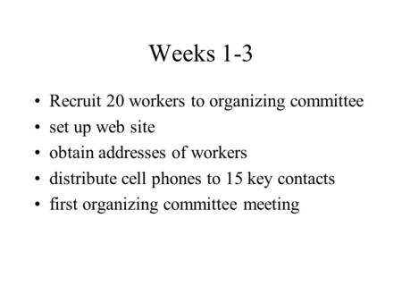 Weeks 1-3 Recruit 20 workers to organizing committee set up web site obtain addresses of workers distribute cell phones to 15 key contacts first organizing.