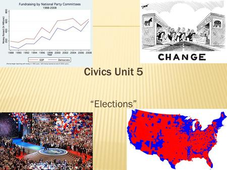 "Civics Unit 5 ""Elections"". I. Funding Campaigns A. Private Funds- money from individual contributors, large corporations, or fundraisers 1. limit of $2300."