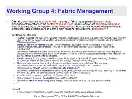 Fabric Management WG – CERN, 2-4/11/2004 – Davide Salomoni Working Group 4: Fabric Management Overall goals: look at site experience in the area of fabric.