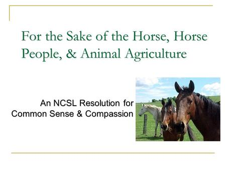 For the Sake of the Horse, Horse People, & Animal Agriculture An NCSL Resolution for Common Sense & Compassion.