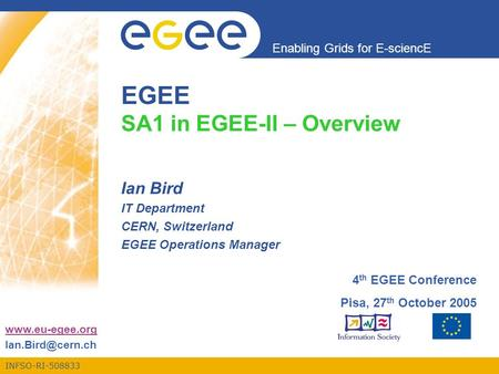 INFSO-RI-508833 Enabling Grids for E-sciencE  EGEE SA1 in EGEE-II – Overview Ian Bird IT Department CERN, Switzerland EGEE.