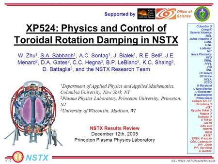 NSTX WZ – XP524 - NSTX Results Review '05 Supported by Office of Science Columbia U Comp-X General Atomics INEL Johns Hopkins U LANL LLNL Lodestar MIT.