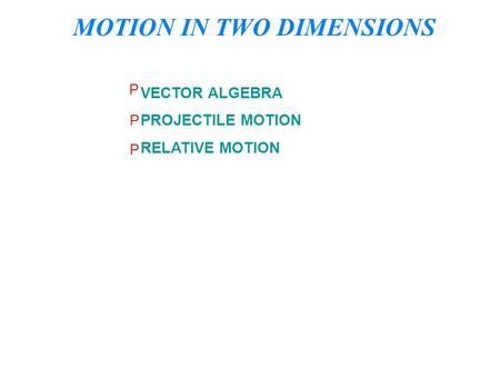 MOTION IN TWO DIMENSIONS VECTOR ALGEBRA PROJECTILE MOTION RELATIVE MOTION P P P.