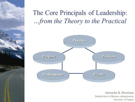 The Core Principals of Leadership: …from the Theory to the Practical Alexander B. Horniman Darden School of Business Administration University of Virginia.