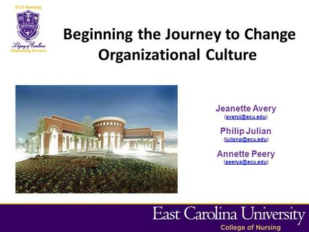 Beginning the Journey to Change Organizational Culture Jeanette Avery Philip Julian Annette.
