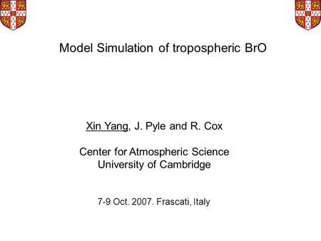 Model Simulation of tropospheric BrO Xin Yang, J. Pyle and R. Cox Center for Atmospheric Science University of Cambridge 7-9 Oct. 2007. Frascati, Italy.