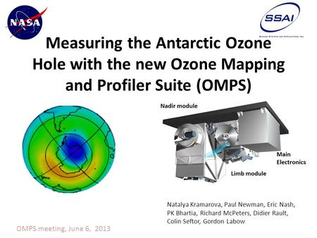 Measuring the Antarctic Ozone Hole with the new Ozone Mapping and Profiler Suite (OMPS) Natalya Kramarova, Paul Newman, Eric Nash, PK Bhartia, Richard.