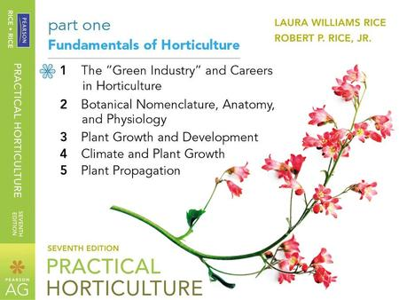 Practical Horticulture 7 th edition By Laura Williams Rice and Robert P. Rice, Jr. © 2011, 2006, 2003, 2000, 1997 Pearson Education, Inc. Pearson Prentice.