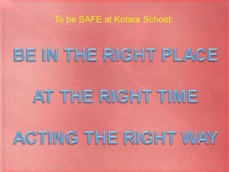 To be SAFE at Kotara School:. Playground Carpark Right PlaceRight Time Right Way Click a link below: Classroom Other Areas.