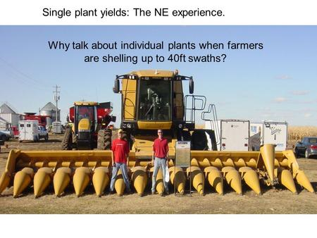Single plant yields: The NE experience. Why talk about individual plants when farmers are shelling up to 40ft swaths?