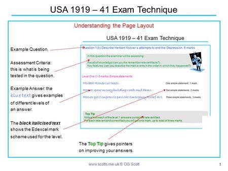 1 USA 1919 – 41 Exam Technique www.scotts.me.uk © OG Scott Understanding the Page Layout Example Question. Assessment Criteria: this is what is being tested.