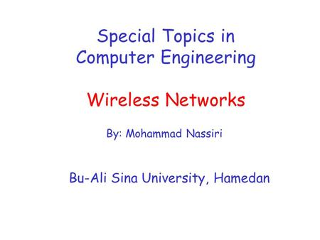 Special Topics in Computer Engineering