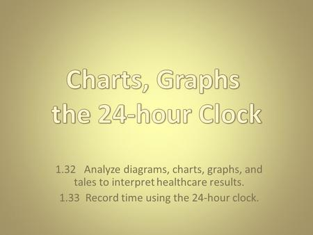 1.32 Analyze diagrams, charts, graphs, and tales to interpret healthcare results. 1.33 Record time using the 24-hour clock.