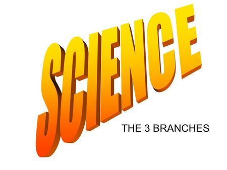 THE 3 BRANCHES 3 BRANCHES Earth Science Life Science Physical Science.